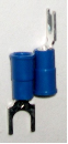 Fork type terminal connector,stud size # 10 (BLUE) (SKU: GSTV-14-10)