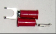 FLANGED BLOCK SPADE (fork) terminal connector,stud size #10, (RED) (SKU: GFSTV-18-10)