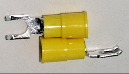 FLANGED BLOCK SPADE (fork) terminal connector,stud size #10 (YELLOW) (SKU: GFSTV-10-10)