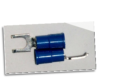 FLANGED BLOCK SPADE (fork) terminal connector,stud size #10, (BLUE)