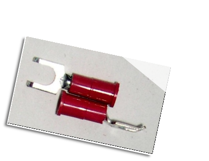 FLANGED BLOCK SPADE (fork) terminal connector,stud size #8 , (RED)