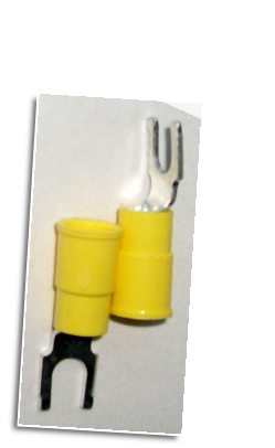 Fork type terminal connector,stud size #10  (YELLOW)
