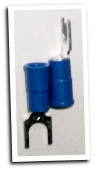 Fork type terminal connector,stud size # 8, (BLUE)
