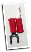 Fork type terminal connector,stud size #8, (RED)
